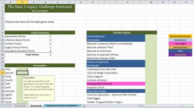 Sims 3 Legacy Challenge Scorecard 2.00